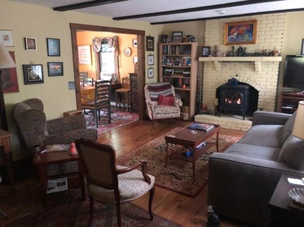 South Orleans Cape Cod vacation rental - Living room with propane fire place, international and local art