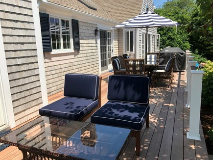 East Orleans Cape Cod vacation rental - Inviting New Mahogany/Stainless steel deck lounge area & dining