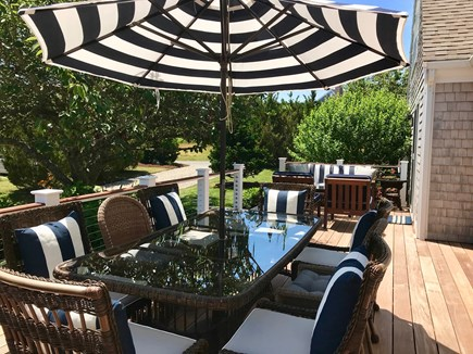 East Orleans Cape Cod vacation rental - New Mahogany/Stainless steel deck seating for 8 with lounge area