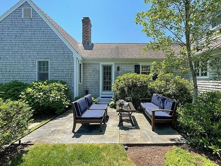 East Orleans Cape Cod vacation rental - Spacious Level, Sunny Slate Patio and Backyard great for kids
