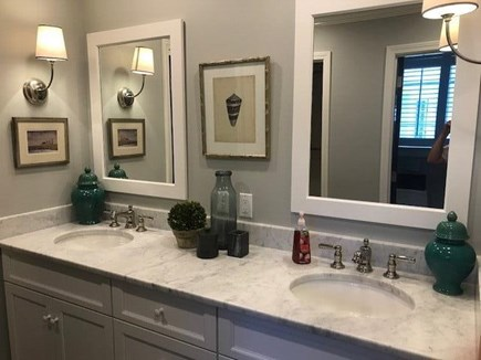 East Orleans Cape Cod vacation rental - Ensuite full bath: 2 sinks,marble vanity, marble/glass shower