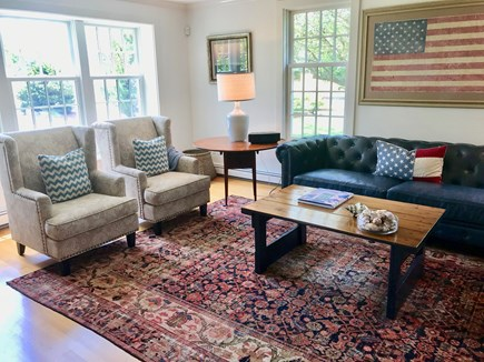East Orleans Cape Cod vacation rental - Welcoming Living Room with fireplace, cottage-style windows