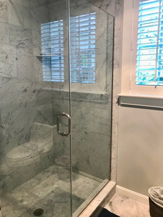 East Orleans Cape Cod vacation rental - First Floor Master Bath Marble Shower En Suite