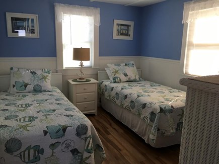 Truro Cape Cod vacation rental - Bedroom 2: twin beds, nightstand/lamp, bureau,closet