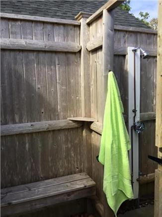 Harwichport Cape Cod vacation rental - Oversized outdoor shower with changing room!