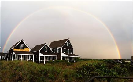 Truro, Corn Hill Cape Cod vacation rental - Rainbow over cottages