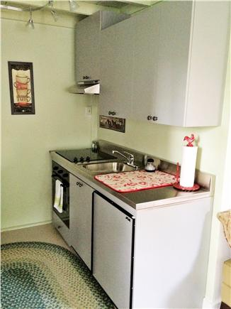 West Barnstable Cape Cod vacation rental - Kitchen includes small fridge, stove, oven, and microwave