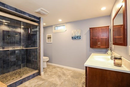 Chatham Cape Cod vacation rental - Large, pampering downstairs bathroom w/pebble-floor beach shower