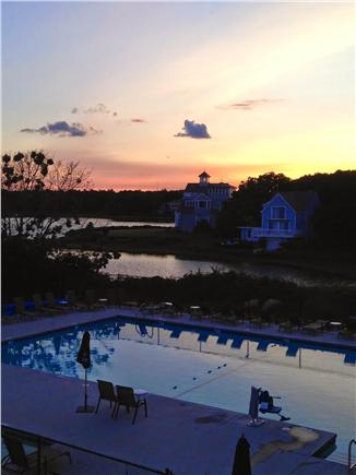 Falmouth - Seacoast Shores Cape Cod vacation rental - Sunset view of the pool from the Clubhouse deck