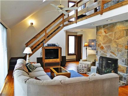 Eastham Cape Cod vacation rental - Large comfortable sectional couch, TV, fireplace