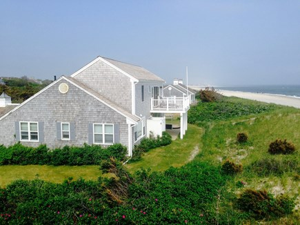 Sandwich, Scorton Shores Cape Cod vacation rental - Side View of  House with Deck overlooking Cape Cod Bay