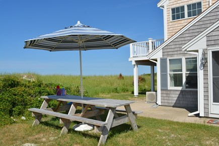 Sandwich, Scorton Shores Cape Cod vacation rental - Picnic Table off of the Dunes.