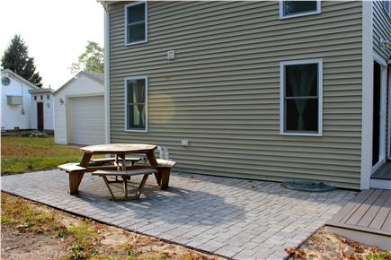Wareham, Swifts Beach/Broadmarsh Cove MA vacation rental - The large patio has a picnic table and a gas grill