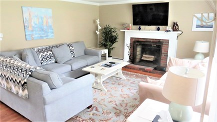 Hyannis, Craigville Cape Cod vacation rental - Large Living Rm #1, Smart TV above fireplace mantel.