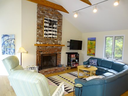 Eastham Cape Cod vacation rental - Vaulted living room with large sectional couch and flat screen TV