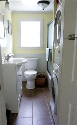 West Harwich Cape Cod vacation rental - Updated bathroom with tub, shower and washer & dryer.
