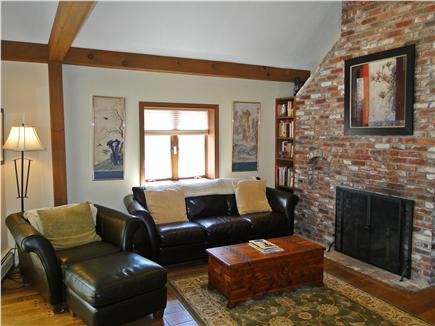 Eastham Cape Cod vacation rental - Den with leather couches, TV