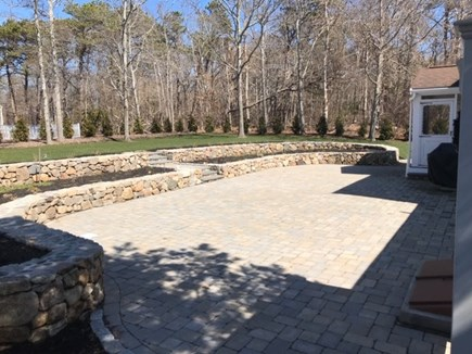 Dennis Cape Cod vacation rental - Patio new plantings, gas firepit, new seaside casual furniture