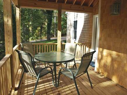 East Falmouth Cape Cod vacation rental - Dine on the deck (for 2017 larger table for 6)