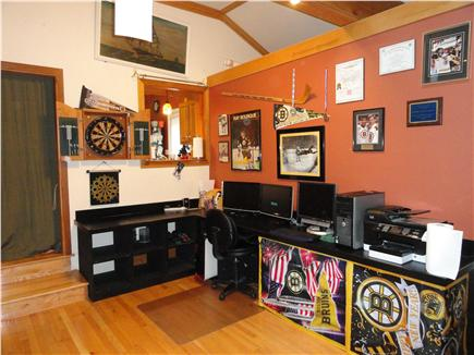 West Yarmouth Cape Cod vacation rental - Living room with dart board and computer