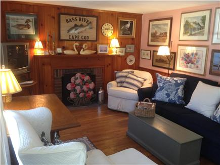 South yarmouth Cape Cod vacation rental - Living room with pull out queen size sofa bed