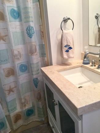 Chatham Cape Cod vacation rental - Second floor bathroom with shower and tub.