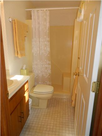 Brewster Cape Cod vacation rental - Master bath with seat in shower.