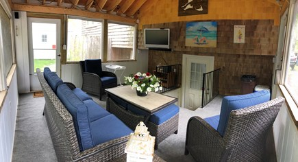 South Yarmouth Cape Cod vacation rental - Screened in porch with quick access to basement bathroom