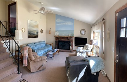 South Yarmouth Cape Cod vacation rental - Open living room with tall ceilings, smart TV & surround sound