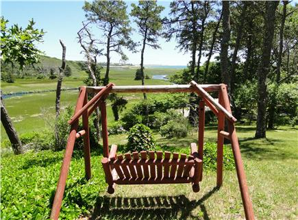 South Chatham Cape Cod vacation rental - View of the water from back yard, even more water at high tide!