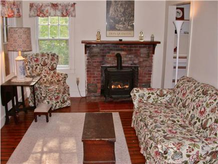 Brewster Cape Cod vacation rental - Living room with fireplace and double futon