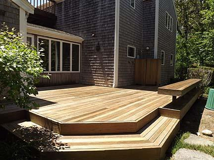 Chatham Cape Cod vacation rental - Front deck, built-in bench seating; enclosed outdoor shower