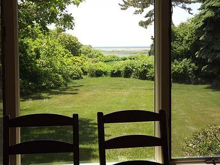Chatham Cape Cod vacation rental - View from dining room with backyard and Nantucket Sound view