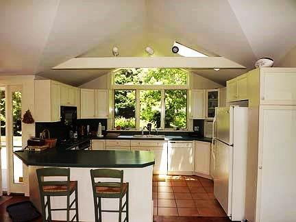 Chatham Cape Cod vacation rental - Kitchen area, counter seating, garden views out front window