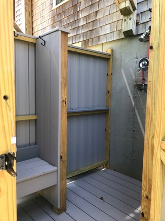 Wellfleet Cape Cod vacation rental - Outdoor shower with changing area, bench, and new kohler faucet