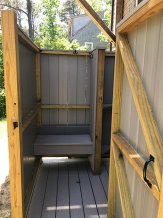 Wellfleet Cape Cod vacation rental - Changing area and bench in new outdoor shower