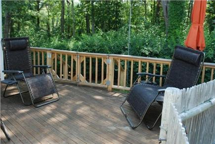 Falmouth Cape Cod vacation rental - Shady driveway side deck,  anti gravity loungers & deck chairs