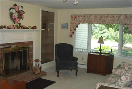 Falmouth Cape Cod vacation rental - Beautiful fireplaced library w/built in bookcases, piano and TV