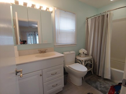 Marshfield, Brant Rock MA vacation rental - Newly renovated bath with white fixtures. new tile and closet.