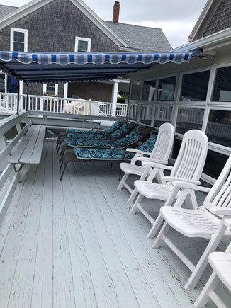 Bourne, Monument Beach Cape Cod vacation rental - Sundeck overlooking Monument Beach. new awnings and cushions.