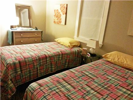 Falmouth, Teaticket Cape Cod vacation rental - Bedroom with twin beds. Put them together to form a king bed. TV.