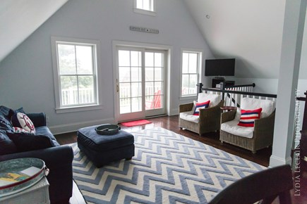 Dennis Cape Cod vacation rental - Top unit Living area and open deck with views of Cape Cod Bay!