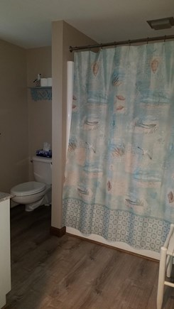 Chatham Cape Cod vacation rental - The main bathroom has a bathtub.