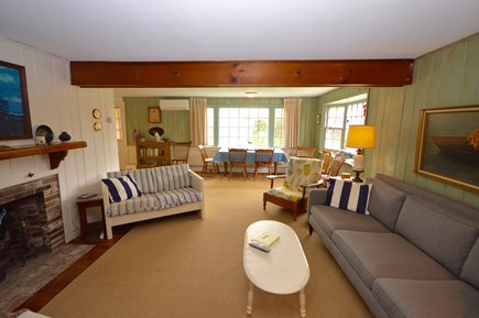 East Orleans Cape Cod vacation rental - Open living room, fireplace and flat screen TV