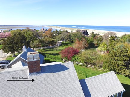 East Orleans Cape Cod vacation rental - Aerial of house with views of Nauset Beach and the Atlantic Ocean