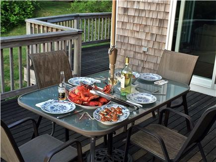 Brewster Cape Cod vacation rental - Rear deck at dinner time