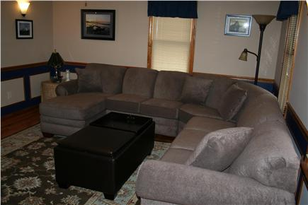 Brewster Cape Cod vacation rental - Family Room with large flat panel TV and sectional sofa
