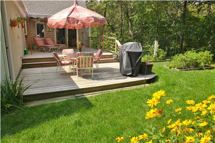 Chatham Cape Cod vacation rental - Outdoor room- 2 level deck w/ outdoor shower viewed from flowers