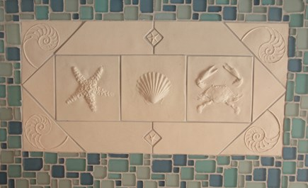 Chatham Cape Cod vacation rental - Unique Handmade Tile Backsplash Over Duel Fuel Commercial Stove