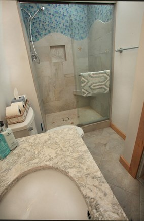 Chatham Cape Cod vacation rental - Updated En-Suite Master Bath-Artistic Tile Work & Cape Cod Quartz